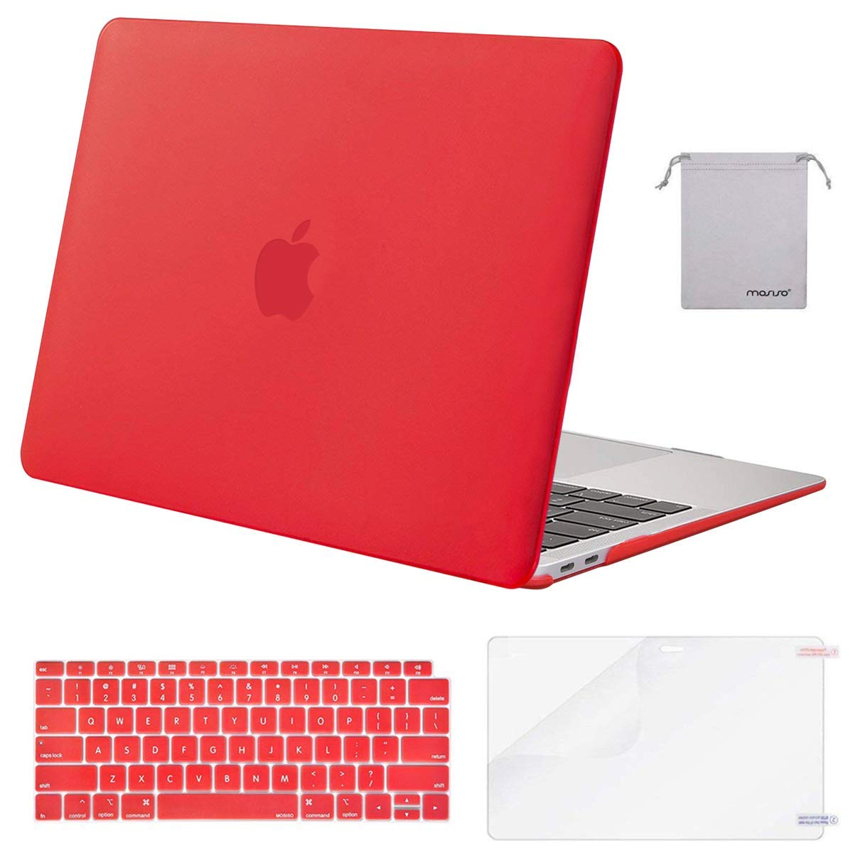 MOSISO MacBook Air 13 inch Case 2020 2019 2018 Release A2179 A1932 with Retina Display, Plastic Hard Shell&Keyboard Cover&Screen Protector&Storage Bag Compatible with MacBook Air 13, Red