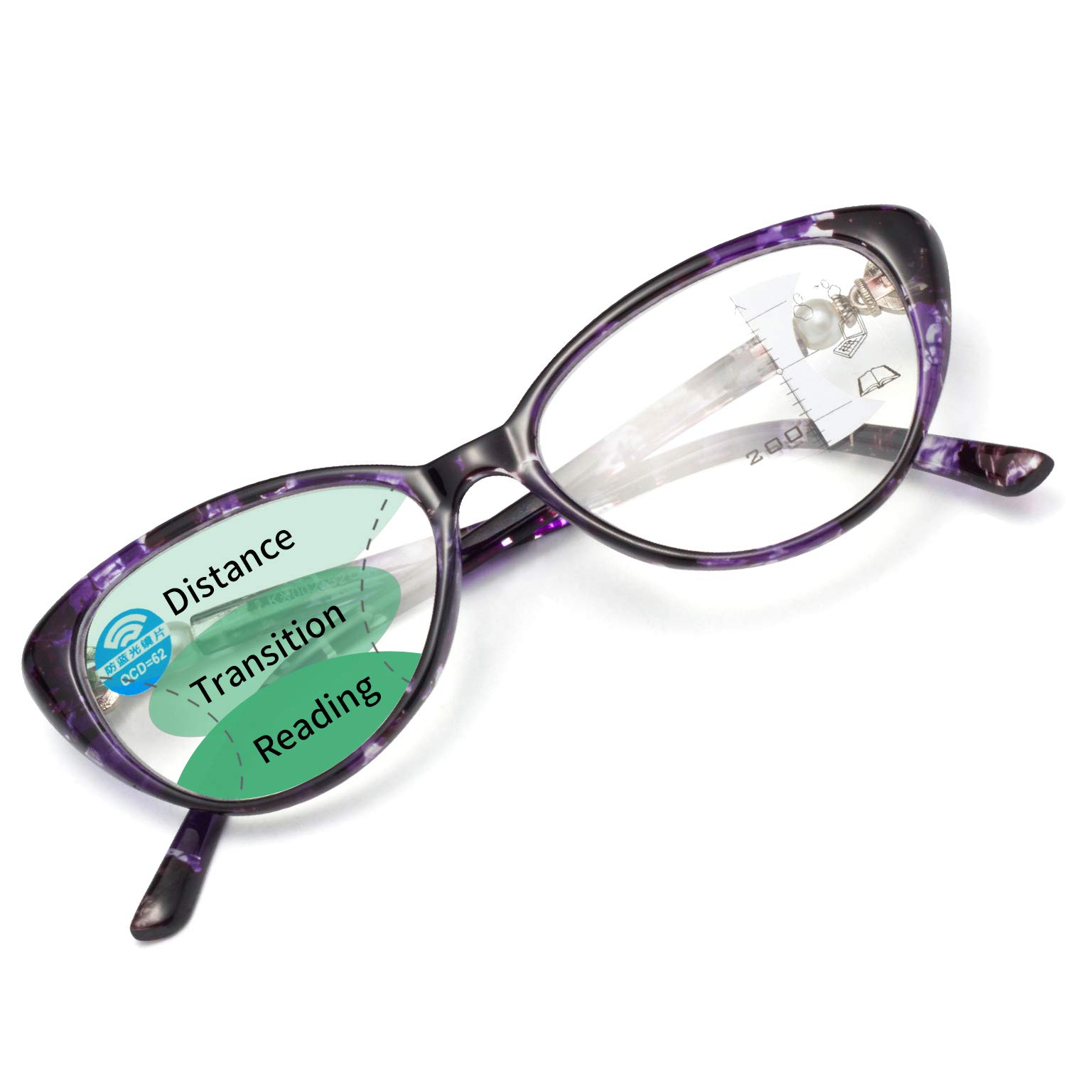 LianSan Womens Cateye Progressive Multifocal Blue Light Blocking Reading Glasses With Pearl Crown Computer Readers for Women