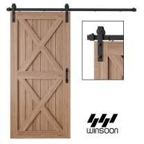 WINSOON 4FT Antique Single Sliding Barn Door Hardware Roller Track Kit J Shape Black, 4-18FT for Choose