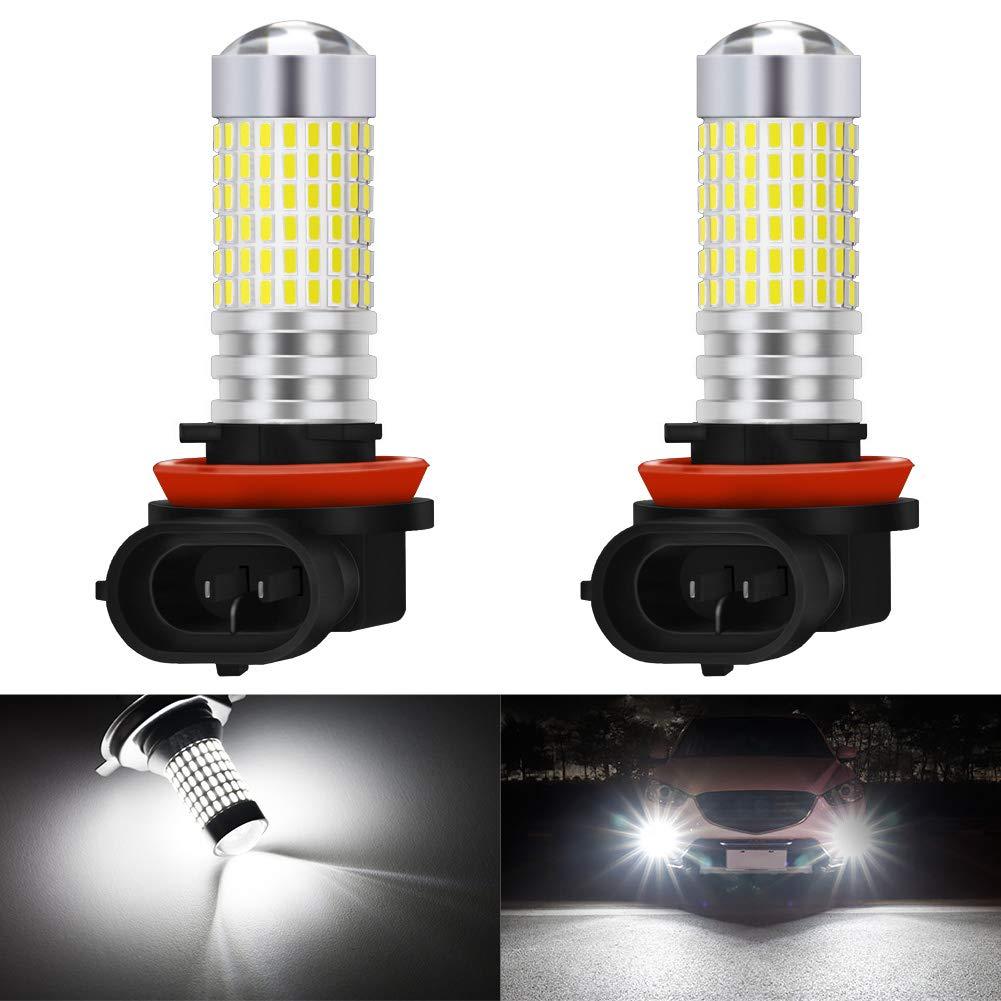 KATUR H8 H9 H11 H16(Japan) LED Fog Light Bulbs Max 80W Super Bright 3000 Lumens 6500K Xenon White with Projector for Driving Daytime Running Lights DRL or Fog Lights,12V -24V (Pack of 2)
