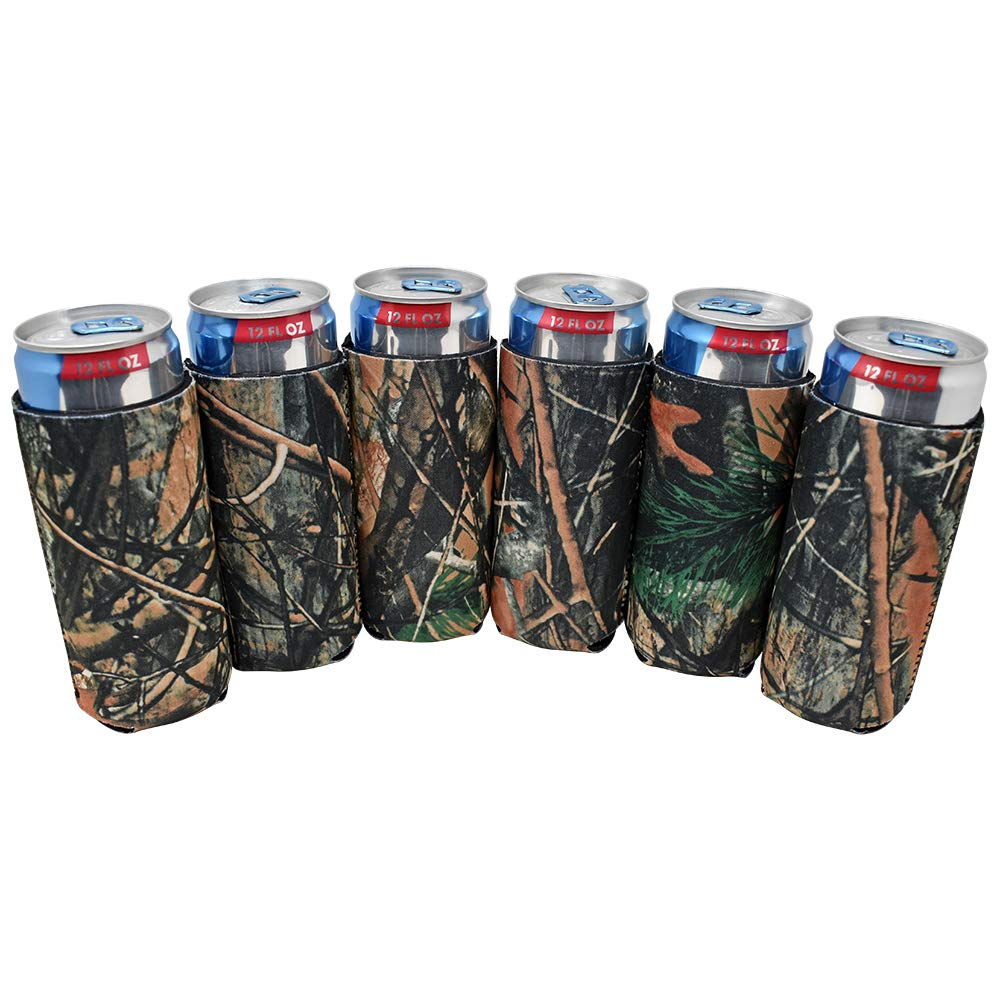 TahoeBay 12 Slim Can Sleeves - Blank Neoprene Beer Coolers – Compatible with 12oz RedBull, Michelob Ultra, White Claw Spiked Seltzer (Camo, 12)