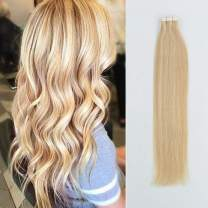 Sassina 22Inch Tape in Colored Human Hair Extension Highlight Color Dirty Blonde 18 Mixed Bleach Blonde 613 Straight Reusable Glue in Extensions 20Pcs 50g per set (P18-613 22 Inch)