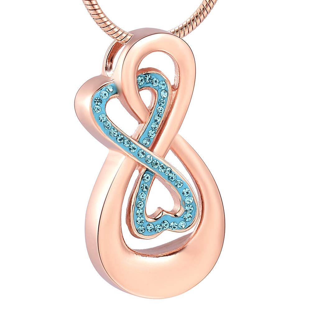 Infinity Love Urn Pendant Stainless Steel Snake Chain Cremation Jewelry for Ashes for Woman Free Filling Tools Include