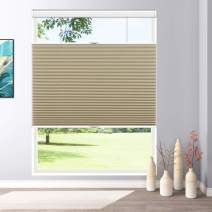"Keego Blackout Window Shades Cordless Cellular Blinds Top Down Bottom Up, 20"" W x 36"" H, Beige,Honeycomb Blinds for Kitchen Windows Doors"