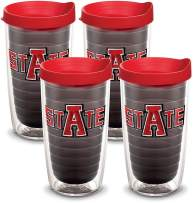Tervis 1081810 Arkansas State Red Wolves Tumbler with Emblem and Red Lid 4 Pack 16oz, Quartz