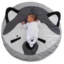 Abreeze Circle,Round Cute Baby Play Mat Carpet,Crawling Mat, Children's Room Decoration Raccoon-Grey