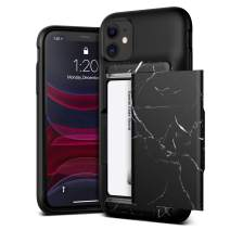 VRS DESIGN Damda Glide Shield Compatible for iPhone 11 Case, with [2 Cards] Premium [Semi Auto] Wallet for iPhone 11 6.1 inch (2019) Black Marble