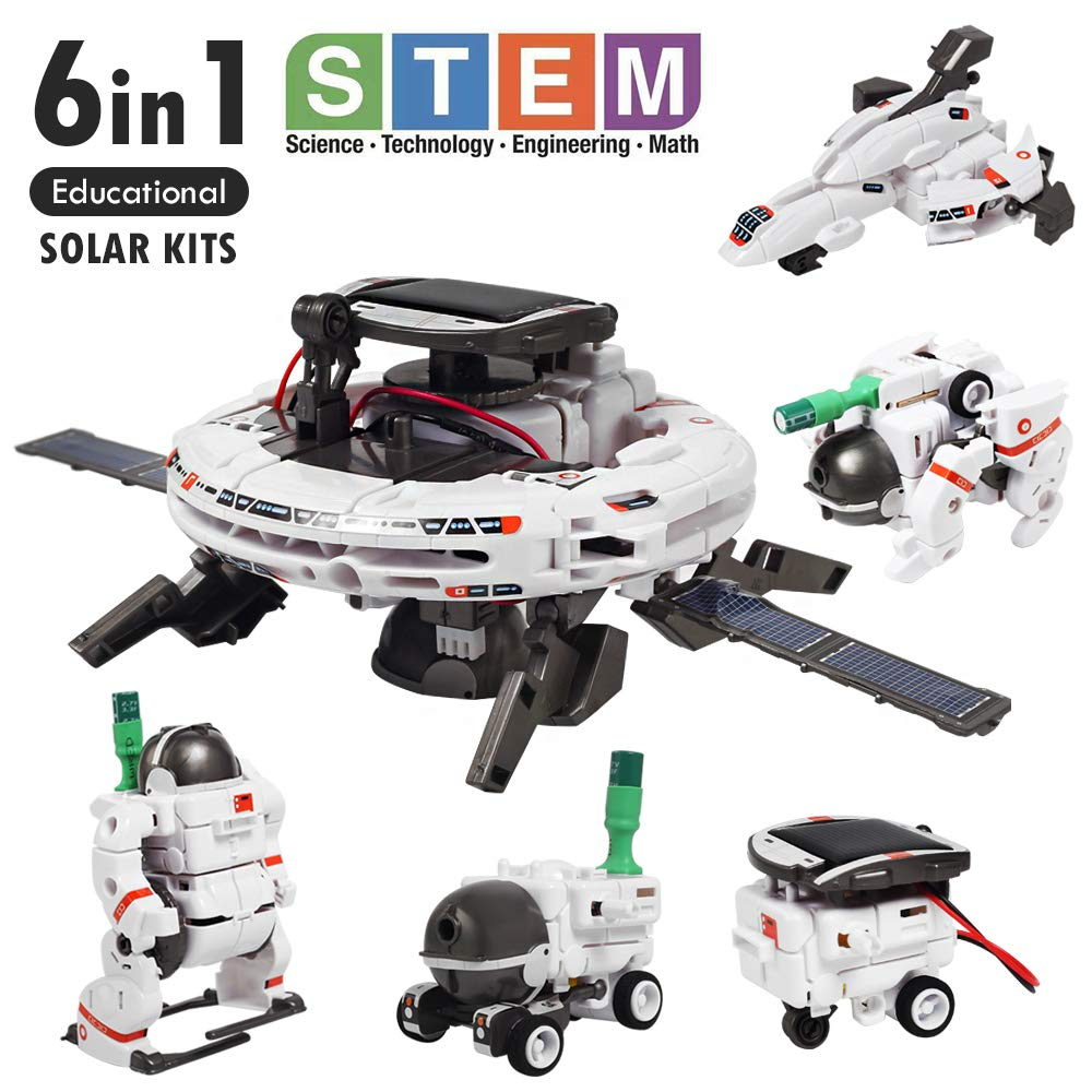 Lehoo Castle Solar Science Kits, STEM 6 in 1 Educational Solar Space Building Kit DIY Assembly Battery Operated Robotic Set for Teens Kids Age 10+
