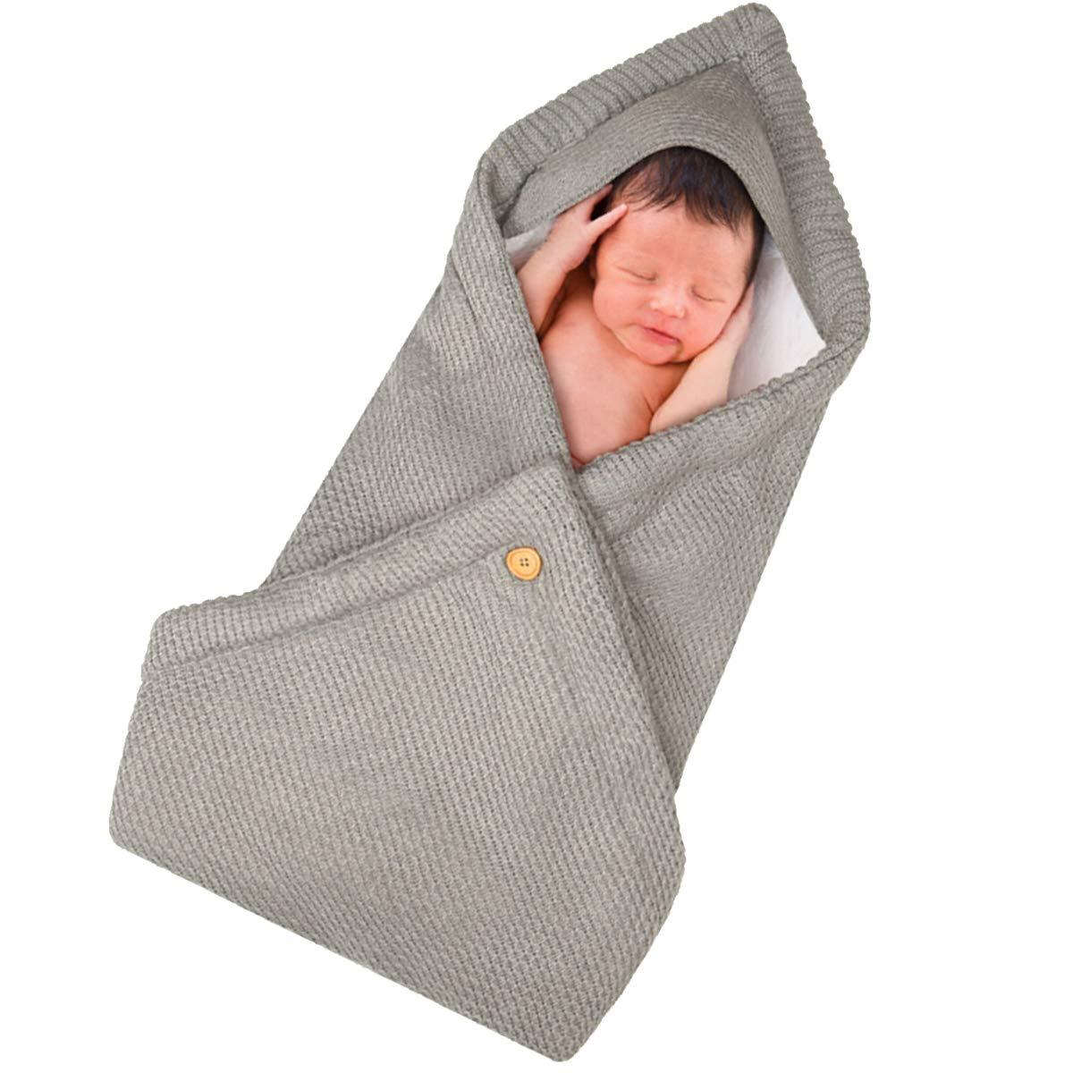 Newborn Baby Swaddle Blanket, Soft Thick Baby Kids Toddler Knit Warm Fleece Blanket Swaddle Sleeping Wrap Bag Sack Stroller Unisex Baby Sleep Bag for 0-12 Month Baby Boys Girls (004 Light Grey)