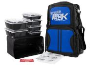 Meal Prep Backpack RUGGED ISOPACK 4 Meal Insulated Lunch Pack Cooler with 8 Stackable Meal Prep Containers, 1 ISOBRICK - MADE IN USA (Black/Blue Accent)
