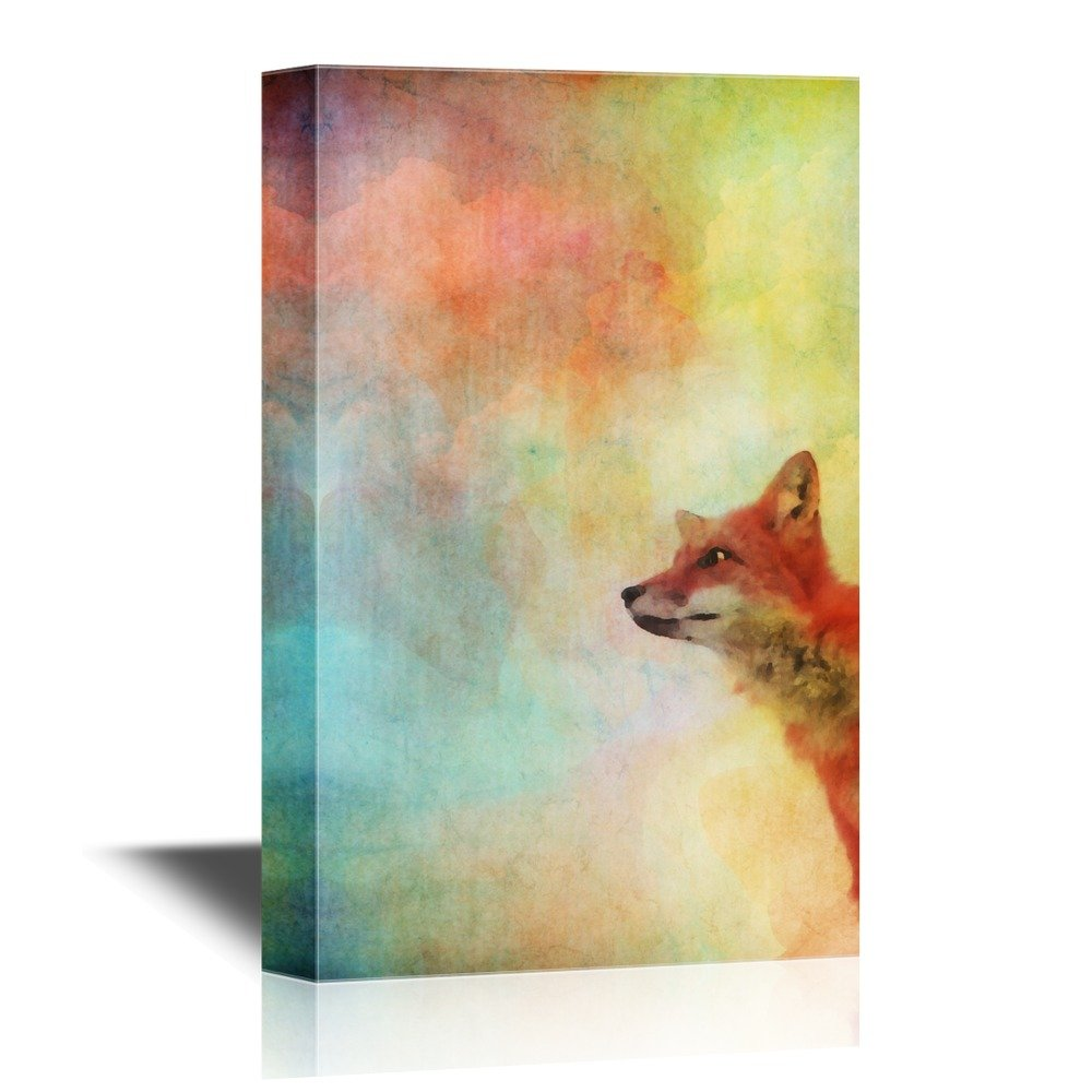 wall26 - Peekaboo Animals Canvas Wall Art - Fox on Watercolor Style Background - Gallery Wrap Modern Home Decor | Ready to Hang - 16x24 inches
