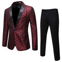 Cloudstyle Mens 2 Piece Print Dress Suit 1 Button Slim Fit Formal Dinner Tuxedo Jacket Pants
