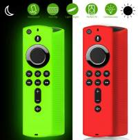 [2 Pack ] Firestick Remote Cover Case, Silicone Fire Remote Cover Case Compatible with 4K Firestick TV Stick, Firetv Remote Cover Case, Lightweight Anti Slip Shockproof (Green Glow& Red Not Glow)