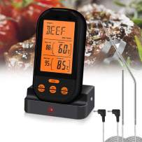 Aveloki Digital Meat Thermometer,Wireless Meat Thermometer for Grilling with Dual Probe Food Cooking Thermometer for Smoker BBQ Grill Thermometer (Black)