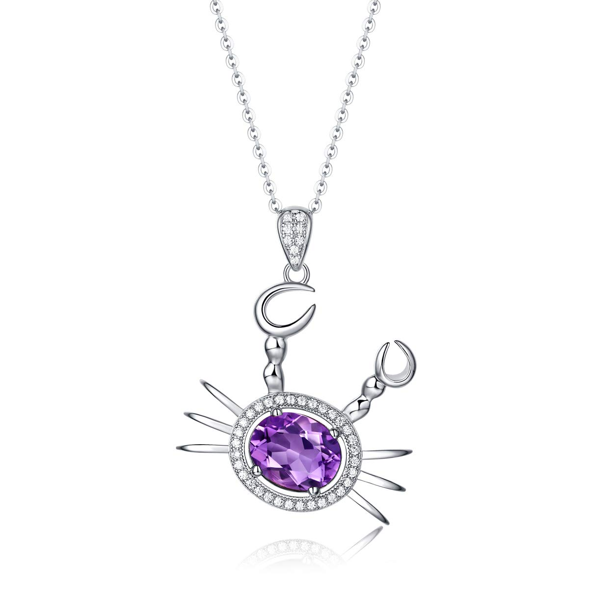 B.ANGEL Sterling Silver Blue Topaz Necklace for Girls Women Crab Animal Amethyst Pendant Necklaces Natural Gemstone Fine Jewelry Birthday Gift for Her