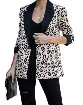 Valphsio Womens Leopard Blazer Lightweight Open Front Office Lapel Jacket Outerwear