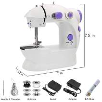 Mini Sewing Machine - Adjustable Double Threads, Foot Pedal and Two Speeds Portable Electric Crafting Mending Machine