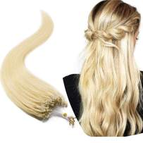 Micro Link Human Hair Extensions Micro Ring Loop Remy Hair Piece Beads Cold Fusion Stick Tipped Hair Fish Line Natural Straight Real Hair Extension For Women 22 inch 50g 100 Strands #613 Light Blonde
