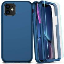 COOLQO Compatible for iPhone 11 Case, 360 Full Body Coverage Hard PC+Soft Silicone TPU 3in1 Shockproof Matte Phone Cover Certified Military Protective with [2 x Tempered Glass Screen Protector]-Blue