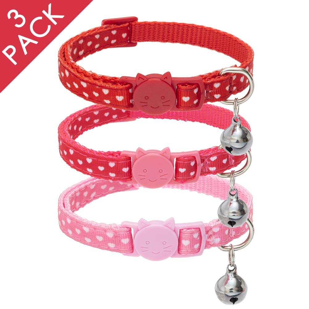 PAWCHIE Breakaway Cat Collar with Bell- 3 Pack Adjustable Kitten Collars, 3 Removable Flower Heart with Bling Rhinestones Accessories Decoration, Including Red, Pink, Rose Red