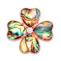 SENFAI Four Heart Leaf Abalone Shell Flower Magnetic Clip Holder Brooch Jewelry