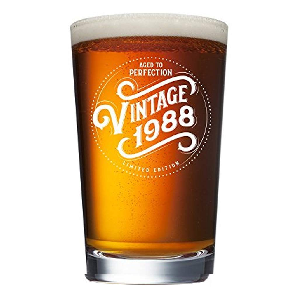 1988 32nd Birthday Gifts for Men and Women Beer Glass - 16 oz Funny Vintage 32 Year Old Pint Glasses for Party Decorations - Anniversary Gift Ideas for Dad, Mom, Husband, Wife - Best Craft Beers Mug