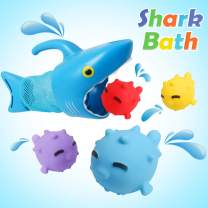 HOONEW Bath Toys Fun Baby Bathtub Toy Shark Bath Toy Creativity Floating Toy for Toddlers Boys Girls Shark Grabber with 4 Toy Fish