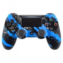 eXtremeRate Blue Coating Splash Patterned Soft Touch Front Housing Shell Faceplate Cover Replacement Parts for PS4 Slim PS4 Pro Game Controller CUH-ZCT2 JDM-040/050/055 - Controller NOT Included