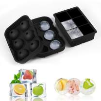 Ice Cube Tray Molds, Large Size Silicone Ice Ball Maker with Lid & Large Square Molds Set of 2 for whiskey cocktails and beverages BPA Free