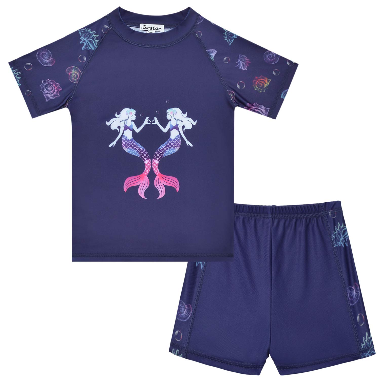Jxstar Girls Rash Guard 2-Piece Mermaid/Unicorn Swimsuit Swimwear UPF 50+ UV