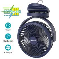 OPOLAR 10000mAh Clip on Fan, 7-Inch Battery Operated Desk Fan, 4 Speeds Portable Fan Rechargeable, Strong Wind, Time Setting , 360° Rotation,USB Fan for Bedroom Camping Tent Beach or Treadmill Car, Blue