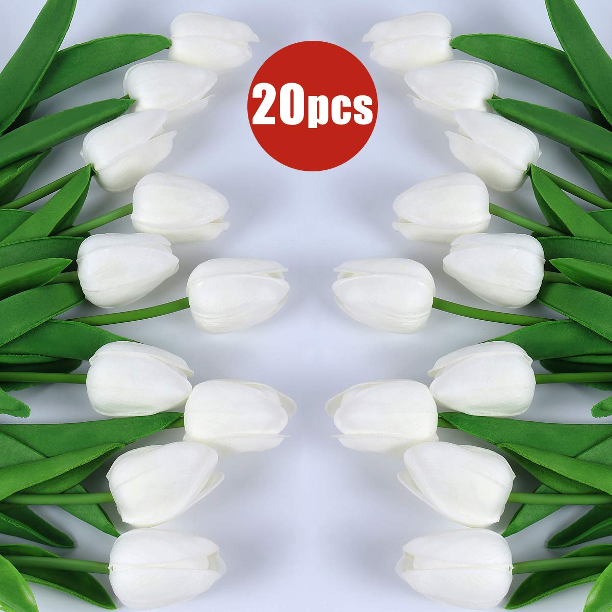"""RECUTMS 20 Heads Artificial White Tulips Flowers Real-Touch Fake Tulips for Mothers Day Party Home Centerpiece Decoration 13"""" Tall (White)"""