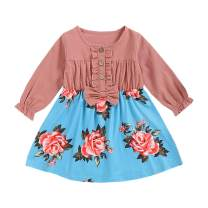 Toddler Baby Kids Girls Dresses Ruffle Bowknot Button Tops Flavor Print Skirt Fall Clothes