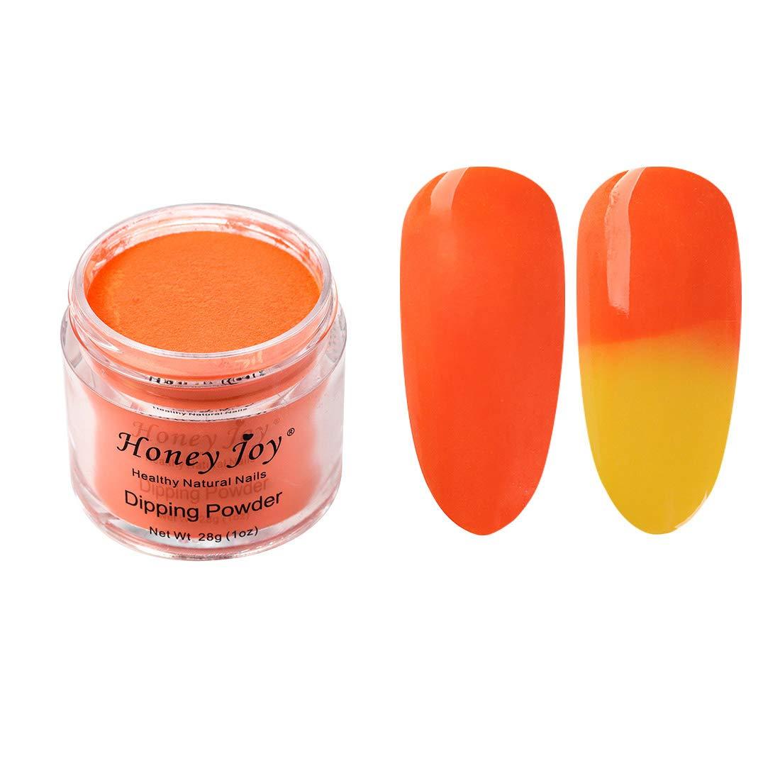 28g/Box Orange and Yellow Temperature Color Change Dip Powder Nails Dipping Nails Long-lasting Nails No UV Light Needed, (No.6)