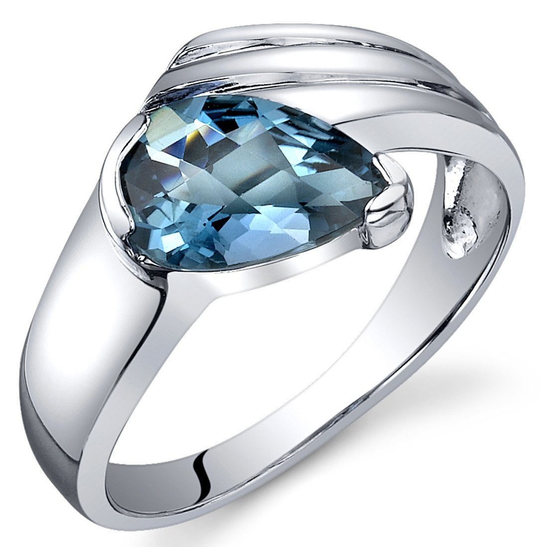 London Blue Topaz Ring Sterling Silver Rhodium Nickel Finish Pear Shape 1.50 Carats Sizes 5 to 9