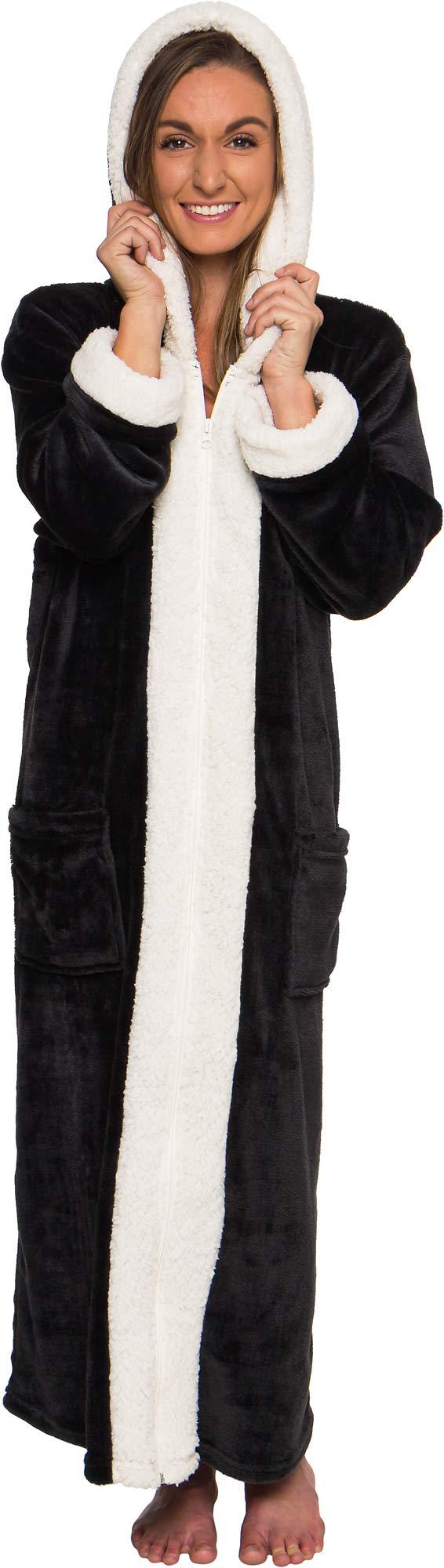 Silver Lilly Sherpa Trim Hooded Robe w/Zipper - Women's Full Length Plush Fleece Long Zipper Housecoat