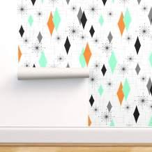 Peel-and-Stick Removable Wallpaper - Retro Orange Diamond Starburst Atomic Seafoam Sputnik Sea Foam Mid by Tonyanewton - 24in x 72in Woven Textured Peel-and-Stick Removable Wallpaper Roll