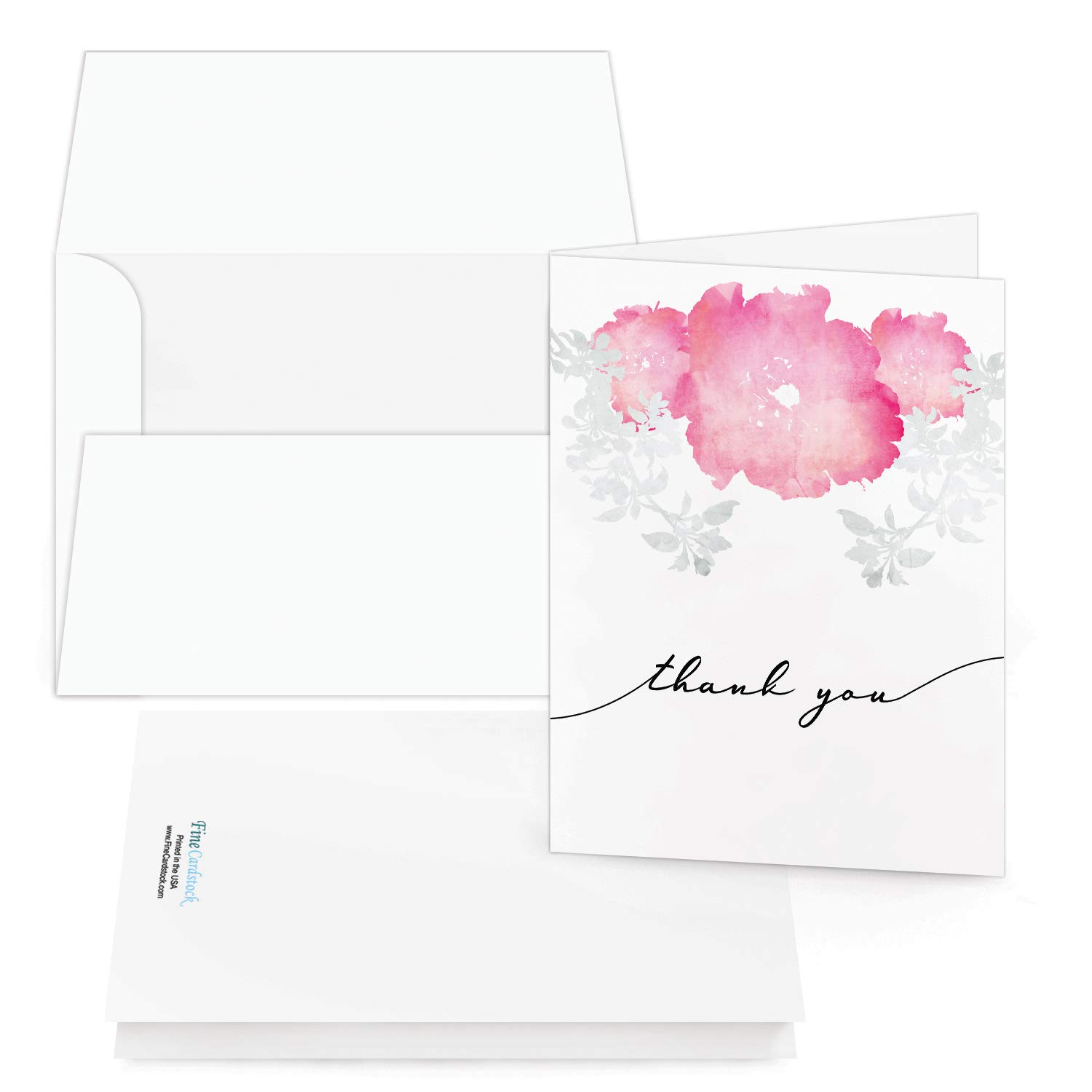 Thank You Cards - Bulk Set Of 25 Thank You Folding Greetings and 25 Envelopes - Beautiful Leaf Art Perfect For All Occasions Including Weddings, Bridal Showers And Baby Showers (Landscape, Pink Art)