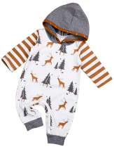 Christmas Newborn Baby Boy Girl Long Sleeve Christmas Tree and Deer Jumpsuit Hoodie Romper Creepers Outfit