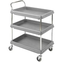 "Metro Deep Ledge Series Polymer Utility Cart with 4 Swivel Casters, 3 Shelves, 400 lb. Total Capacity, 41"" Height x 27"" Width x38-3/4"" Length , Gray"