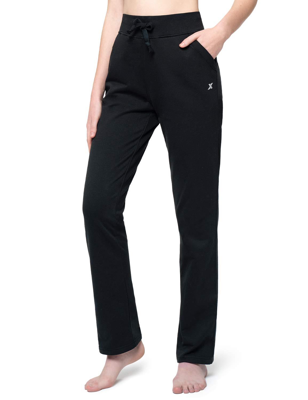 XGEAR Women's Fleece Lined Running Pants Open Bottom Sweatpants Workout Yoga Pants
