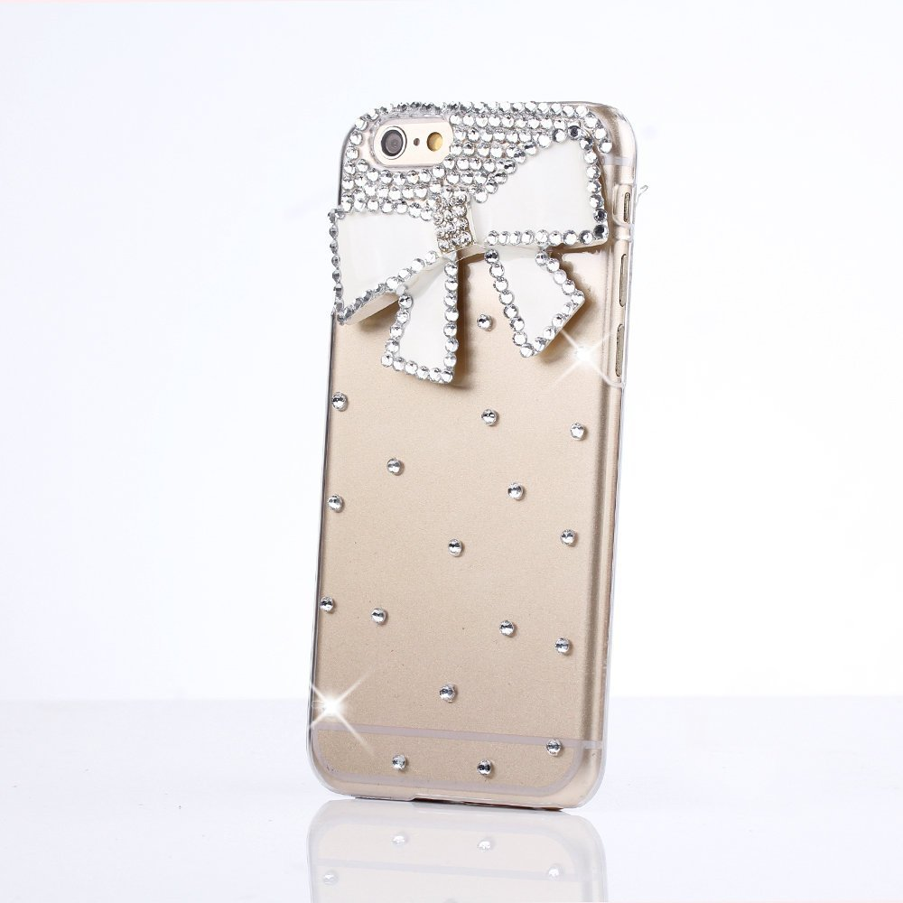STENES iPod Touch 5 Case - Glamour Crystal 3D Handmade Sparkle Glitter Bowknot Diamond Gem Rhinestone Bling iPod Case Clear Hard Cover for iPod Touch 5th Generation Retro Bowknot Anti Dust Plug
