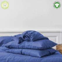 Swastha Linen Organic Cotton Bed Sheets Twin - Organic Dark Blue Sheets - 300 Thread Count Organic Cotton - Organic Cotton Sateen Sheets - Deep Pocket Organic Cotton Sheets - GOTS Certified Sheets
