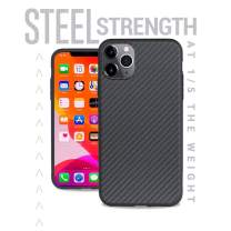 Evutec Karbon iPhone 11 Pro Max 6.5 Inch, Unique Hard Smooth Heavy-Duty Phone Case Cover Real Aramid Fiber Strong Protective Slim 1.6mm Durable (Black)-AFIX+ Free Vent Mount