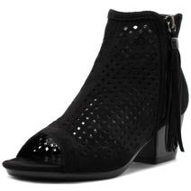 Ollio Women Shoe Suede Zip up Cutout Ankle High Heel Bootie