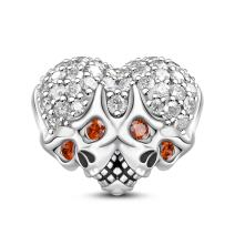GNOCE Double Skull Heart Shape Charms Beads 925 Sterling Silver Charms for Bracelets & Necklaces