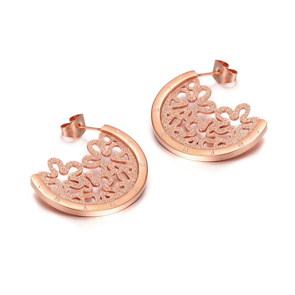 Flat Sexy Statement Pave Abstract Flower Half Hoop Disk Earrings for Women, 18K Rose Gold Plated