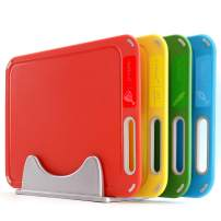 Plastic Cutting Board, Set of 4 with Storage Stand, Color Box Packed, BPA-Free, Preventing Cross-contamination of Different Food Types, Dishwasher Safe