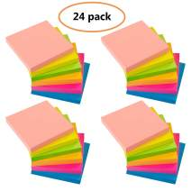 Sticky Notes - VANZAVANZU Self-Stick Notes 3x3 in, 24 Pads, 100 Sheets/Pad, 6 Bright Colors, Easy Post Notes (24 Pads)