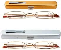 KoKoBin Mini Reading Glasses - 2 Pairs Metal Frame Readers with Spring Hinge Portable Pen Clip for Men Women,Gold+Silver 1.50 Strength
